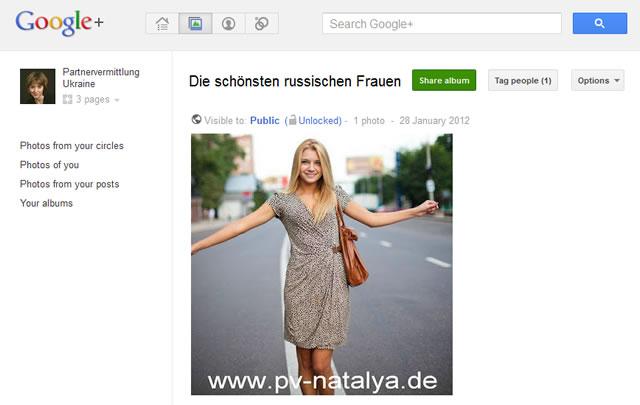 """Album """"Russische Frauen"""" der Partnervermittlung Ukraine auf Google+"""